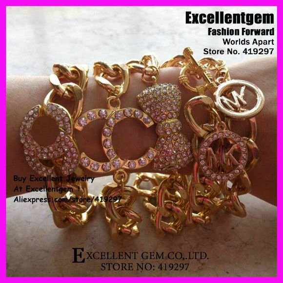 bow cute jewels gold crystal chanel michael kors arm candy bracelets chain link rhinestones