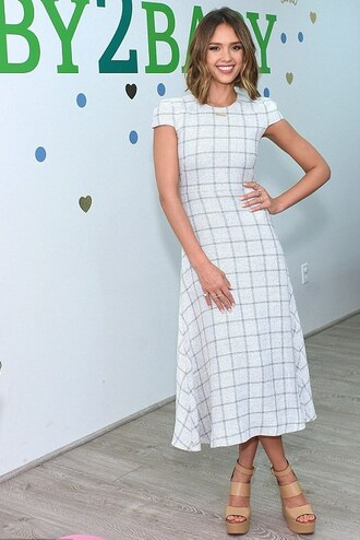 dress midi dress spring outfits wedges sandals jessica alba