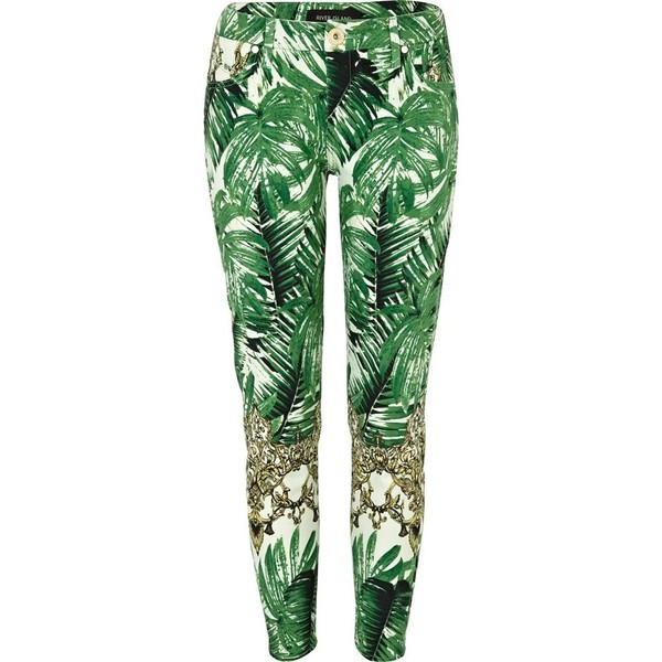 River Island Green tropical palm print ankle grazer jeans - Polyvore