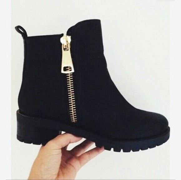gold boots style black boots gold zippers ankle boots chunky heels chunky sole zipper suede boots suede