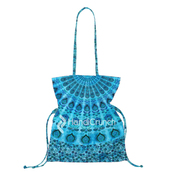 bag,mandala handbag,handbag,bucket bag,mandala,blue bag