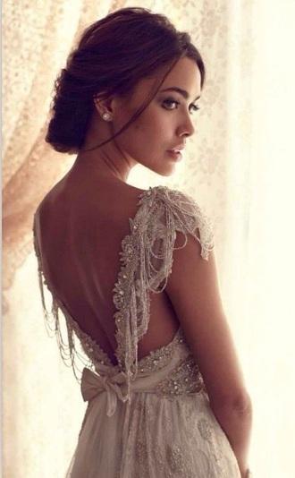 backless dress beading boho dress
