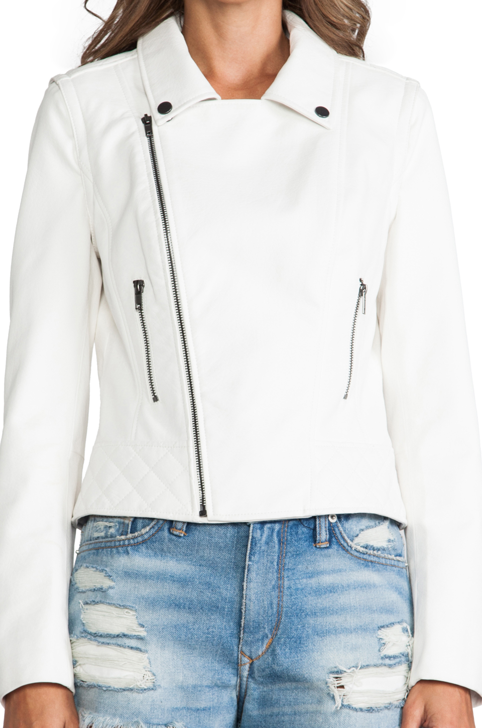 Lovers   friends babe moto jacket in white