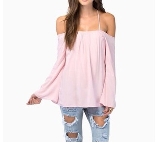 blouse top shirt off the shoulder dress skater dress skater skirt ripped jeans jeans pants hairstyles make-up model nail polish baby pink gorgeous bikini off shoulder top sleeveless high waisted shorts high waisted jeans