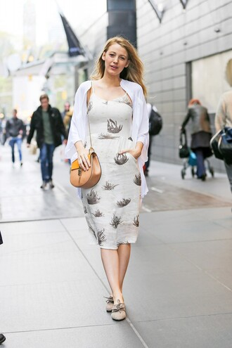 dress midi dress spring outfits purse blake lively bag