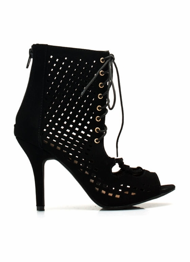 Perforated-Cut-Out-Heels BLACK LIME PEACH RED WHITE - GoJane.com