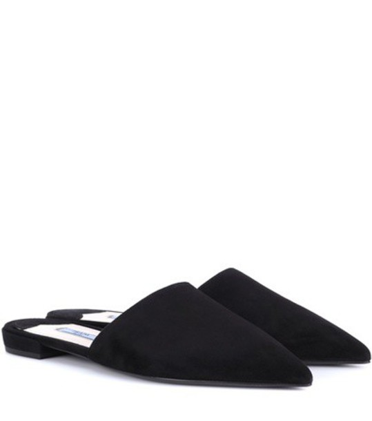 slippers suede black shoes