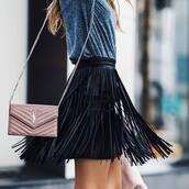 skirt,tumblr,black leather skirt,leather skirt,black skirt,fringes,fringe skirt,bag,pink bag,chain bag,ysl,ysl bag,top,grey top