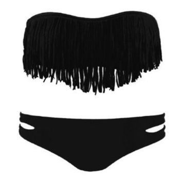 Amazon.com: Zicac Fashion Women's Sexy Tassel Padded Bandeau Fringe Bikini Set Beauty Women Favor 2pcs Padded boho fringe top strapless bikini Swimwear 6 Colors to Choice (black, M US6-8 Cup Size B-C): Clothing on Wanelo