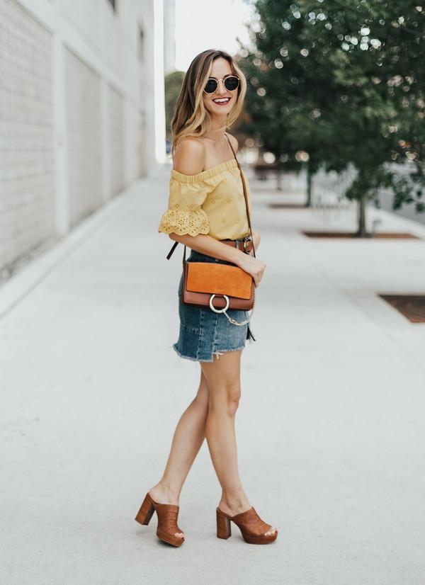 skirt denim skirt mini skirt distressed denim skirt blogger blogger style clogs crossbody bag off the shoulder top