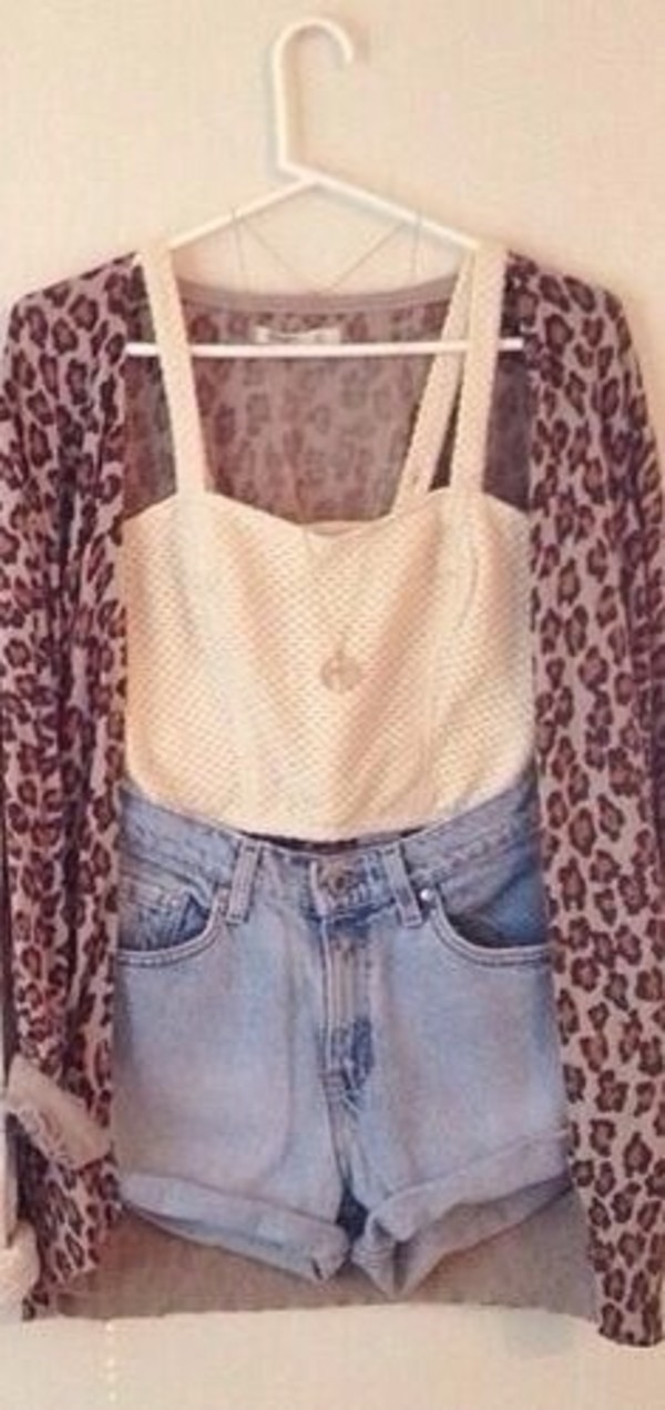 sweater leopard print shorts tank top