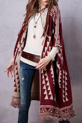 cardigan sweater knitwear knitted cardigan coat jacquard longline tassel fringes top outerwear fashion clothes outfit burgundy geometric jumper jeans denim girl beautiful boho bohemian zaful