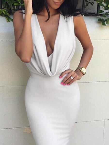 6214d434bc White Plunge Ruched Front Sleeveless Bodycon Dress