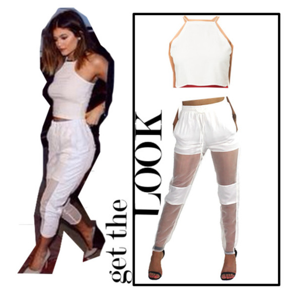topshop white top lace top blouse sexy dress kylie jenner white pants kylie jenner pants sheer pants trouser track pant cute tops high neck halter top top