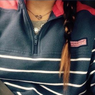 sweater shepshirt vineyard vines pink sweater navy blue sweater preppy nautical