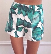 shorts,white,green,leaves printed,leaves,High waisted shorts,pattern,floral,flowers,plants,short,high wasted short,print,shoes black wedges