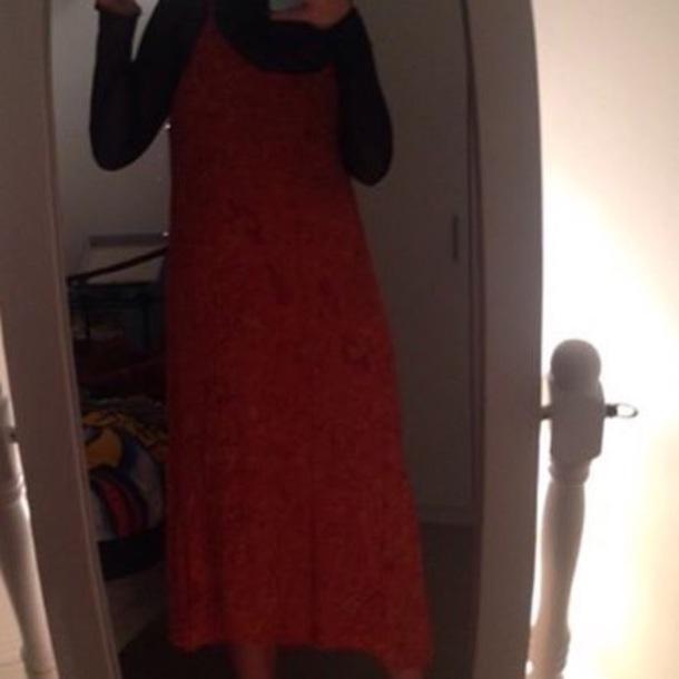dress spaghetti strap orange dress long dress grunge hippie hippie dress patterned dress