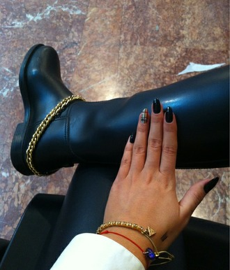 shoes boots gold chain nail polish burberry