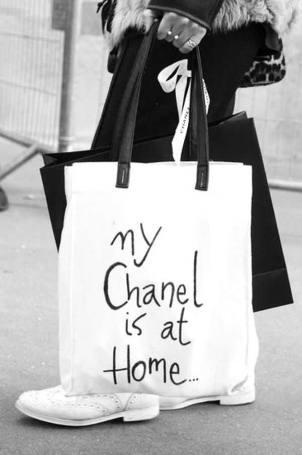 a378629d58ff Noirlu | 'My Chanel is at Home' Letters Canvas Bag | Online Store ...