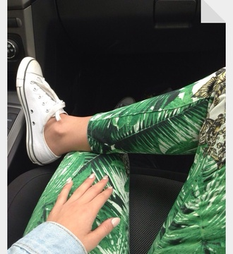 jeans leggings tropical palm tree print