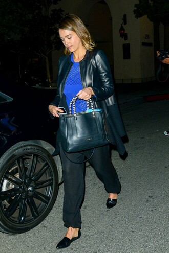 jacket top pants flats jessica alba