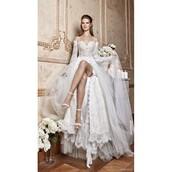 dress,lace dress,tarik ediz dress,a-line wedding dresses,appliques,long sleeves
