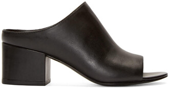 mules leather black black leather shoes