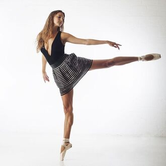 ballet black bodysuit plunge v neck plunge neckline striped skirt
