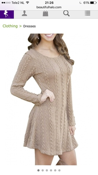 dress nude fashion style long sleeves knitwear fall outfits trendy winter outfits beautifulhalo