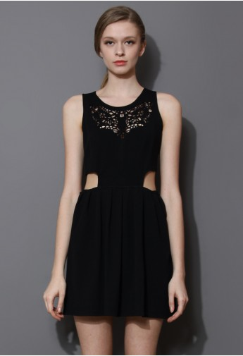 Artistic Waist Cut Out Sleeveless Dress in Black - Retro, Indie and Unique Fashion