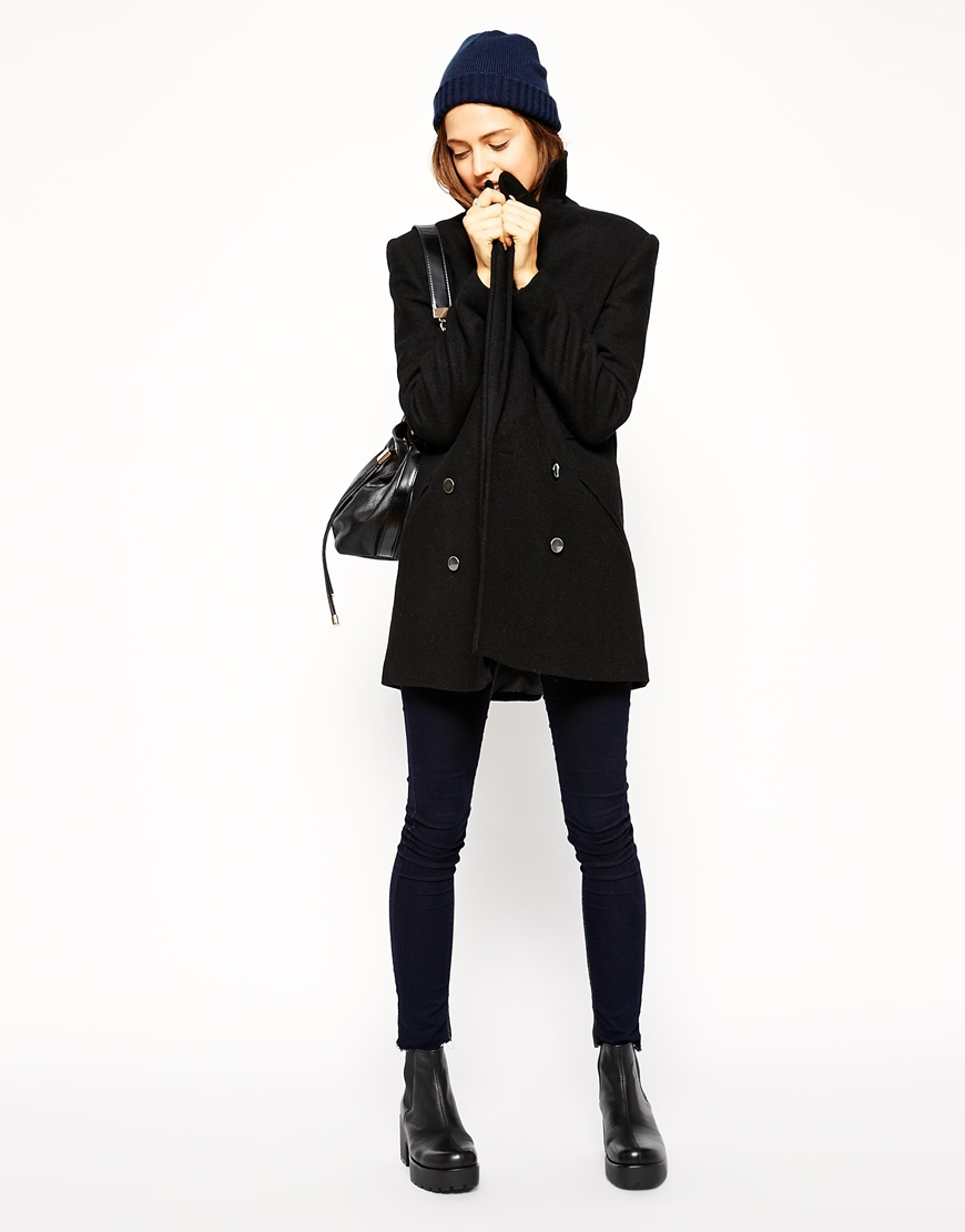 ASOS Pea Coat In Double Breast at asos.com