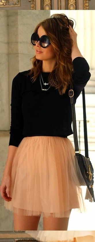 skirt tulle skirt short peach