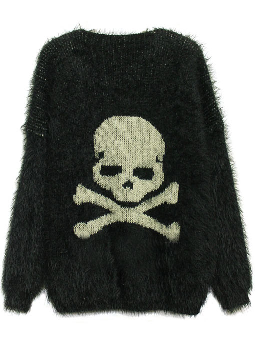 Black Long Sleeve Skull Embroidery Mohair Sweater - Sheinside.com