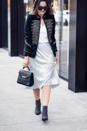 skirt,midi skirt,pleated skirt,metallic skirt,jacket,t-shirt,blogger,blogger style,ankle boots,studded shoes,handbag,officer jacket