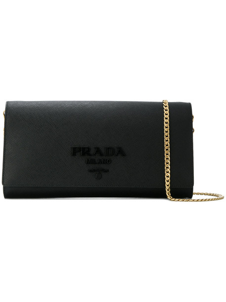 Prada women clutch leather black bag