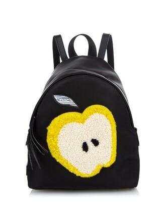 mini backpack black yellow bag