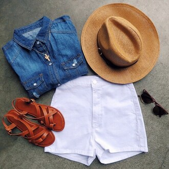 shorts white shorts denim shorts denim top chambray sandals sunglsses hat straw hat summer spring gojane all denim outfit