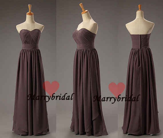 Affordable simple strapless sweetheart brown by marrybridal