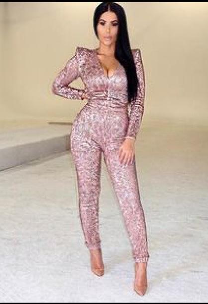 romper pink sequin jumpsuit