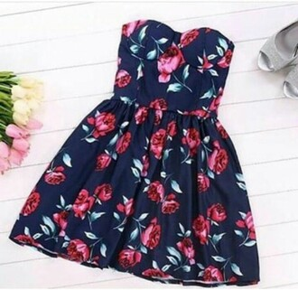 dress black dress blue dress bustier dress floral dress floral cute dress