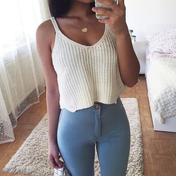 t-shirt top crop tops blouse shirt white summer knitted crop top instagram white tank top knitted top white beige spaghetti strap tank top crop tops crop tank white crop tops