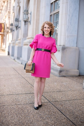 something delightful blogger dress belt jewels shoes bag pink dress clutch belted dress