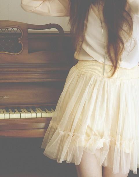 skirt tulle skirt tulle skirt cute beige girly chiffon chiffon skirt pinterest
