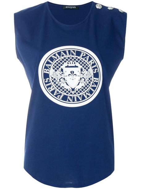 Balmain t-shirt shirt printed t-shirt t-shirt women cotton blue top