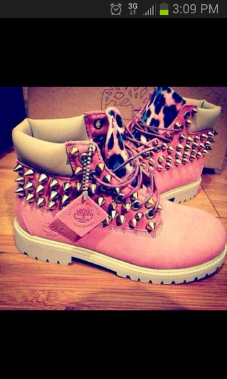 shoes boots women studded leopard print timberlands pink spikes leopard timberlands studded shoes rose pink timberlands with cheetah & spikes timberland pink cheetah spikes timberland boots studded