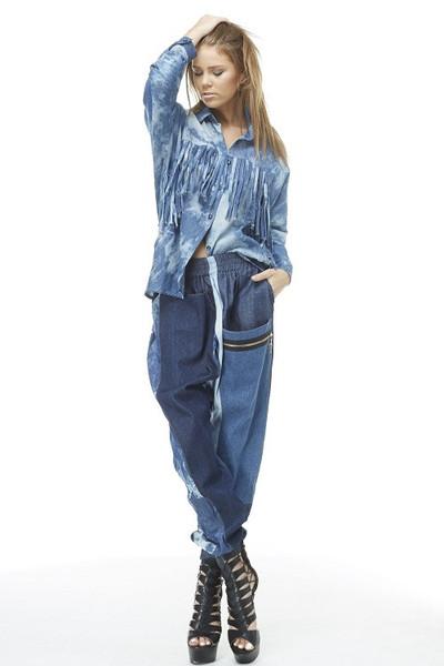 Conya two tone denim pants