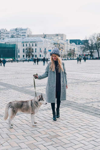 anna pogribnyak city fashion: my vision blogger coat dress shoes bag hat jewels grey coat ankle boots beanie fall outfits