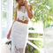 Scalloped crochet midi two piece bandage dress white