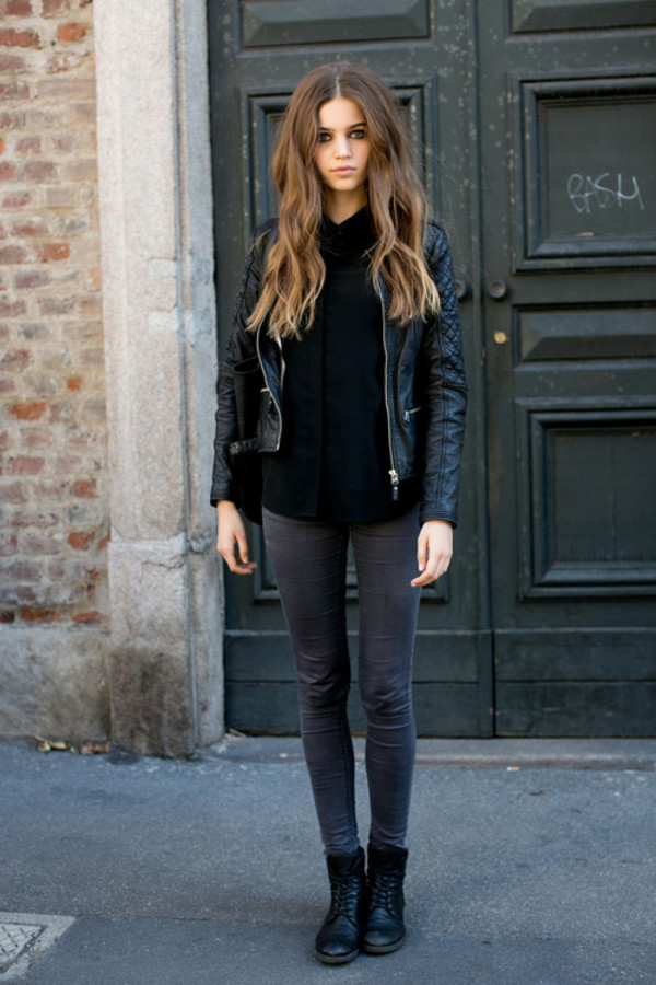 jacket leather black jeans