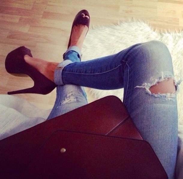 jeans bag shoes high heels heels legs self view jeans holes used
